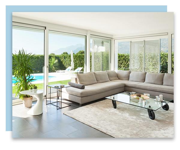Living room overlooking swimming pool
