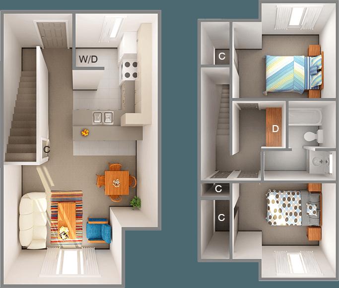 Floor plan of 2 bedroom home